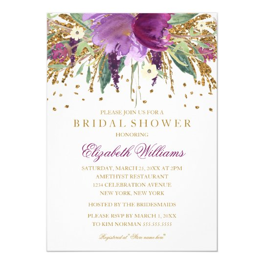 Floral glitter sparkling amethyst bridal shower invitation zazzle floral glitter sparkling amethyst bridal shower invitation filmwisefo