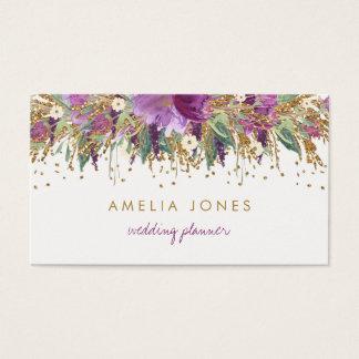 Floral Glitter Sparkling Amethyst Business Card