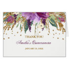 Floral Glitter Sparkling Amethyst Quinceanera Card
