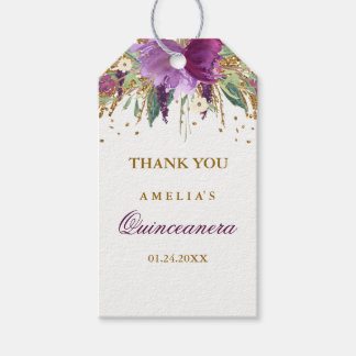 Floral Glitter Sparkling Amethyst Quinceanera Tags