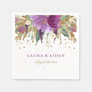 Floral Glitter Sparkling Amethyst Wedding Napkin Paper Serviettes
