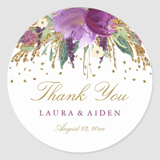 Floral Glitter Sparkling Amethyst Wedding Stickers