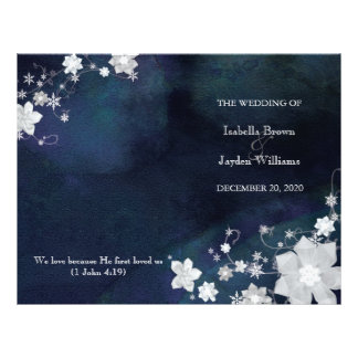 Floral Glitter Winter Wedding Bi Fold Program 21.5 Cm X 28 Cm Flyer