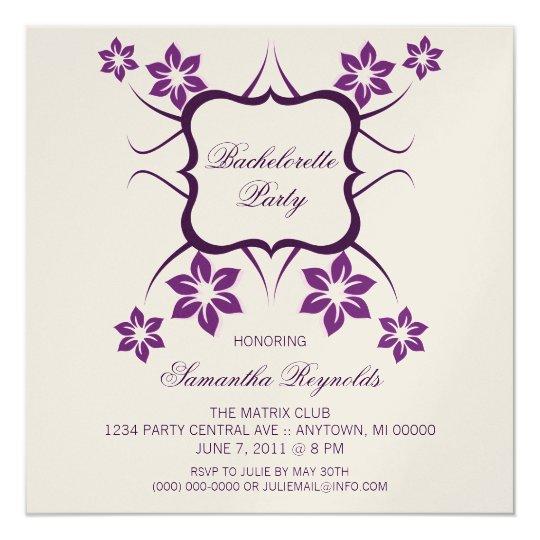 Floral Goddess Bachelorette Party Invite, Purple Card
