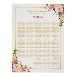 Floral Gold | 20+ Tables Wedding Seating Chart Poster