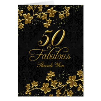 Floral Gold 50 & Fabulous Thank You Card