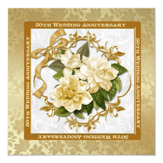Floral Gold  50th Wedding Anniversary Card