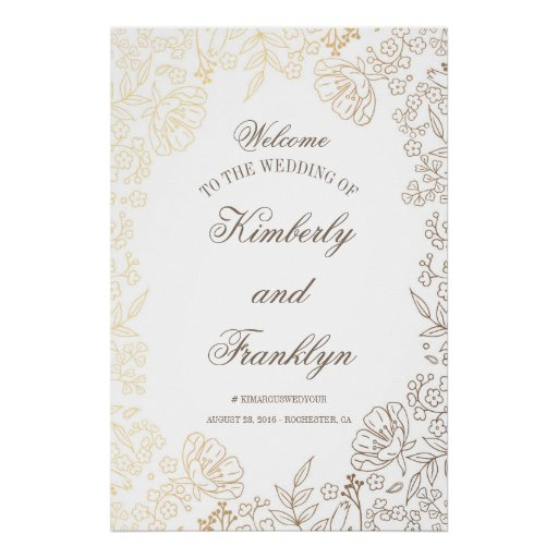 Floral Gold and White Huge Wedding Welcome Sign