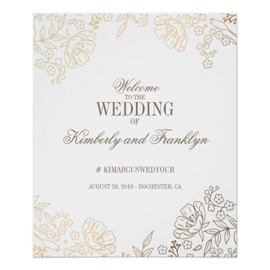 Floral Gold and White Vintage Wedding Welcome Sign