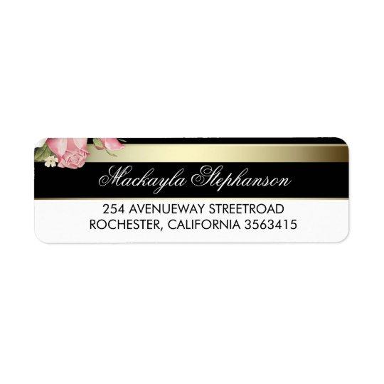 Floral Gold Black and White Stripes Wedding Return Address Label