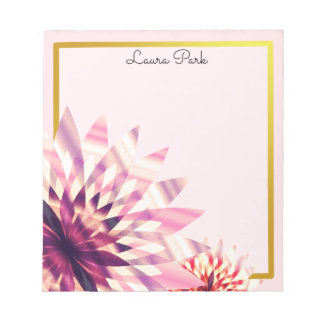Floral Gold Faux Personalized Cute Girly Notepad