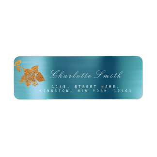 Floral Gold Foil Aqua Metallic Blue Water RSVP