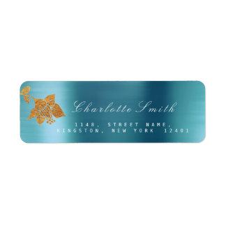 Floral Gold Foil Aqua Metallic Blue Water RSVP Return Address Label