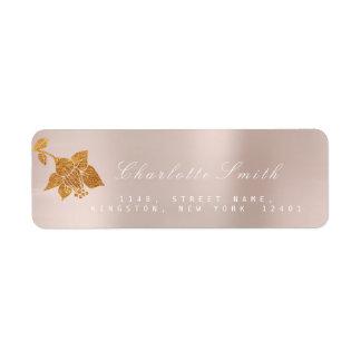 Floral Gold Foil Metallic Blush Pink  RSVP Return Address Label