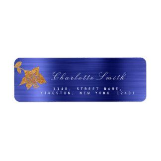 Floral Gold Foil Metallic Cobalt Blue RSVP Return Address Label