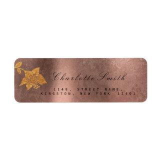 Floral Gold Foil Metallic Faux Blush Pink RSVP Return Address Label