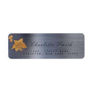 Floral Gold Foil Metallic Gray Graphite Black RSVP Return Address Label