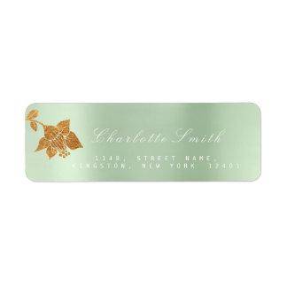 Floral Gold Foil Metallic Mint Green  RSVP