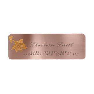Floral Gold Foil Metallic Pink Pearly RSVP Return Address Label