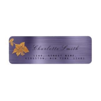 Floral Gold Foil Metallic Purple Plum RSVP Return Address Label