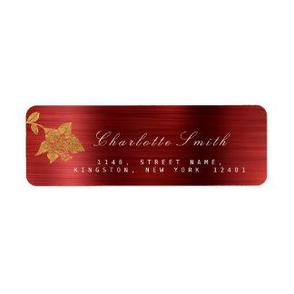 Floral Gold Foil Metallic Red Wine RSVP Return Address Label