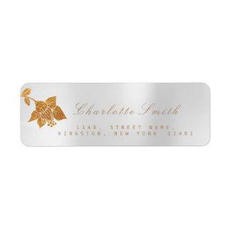Floral Gold Foil Metallic Silver Gray RSVP