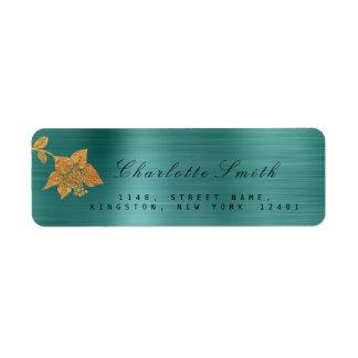 Floral Gold Foil Metallic Teal Tropical RSVP Return Address Label