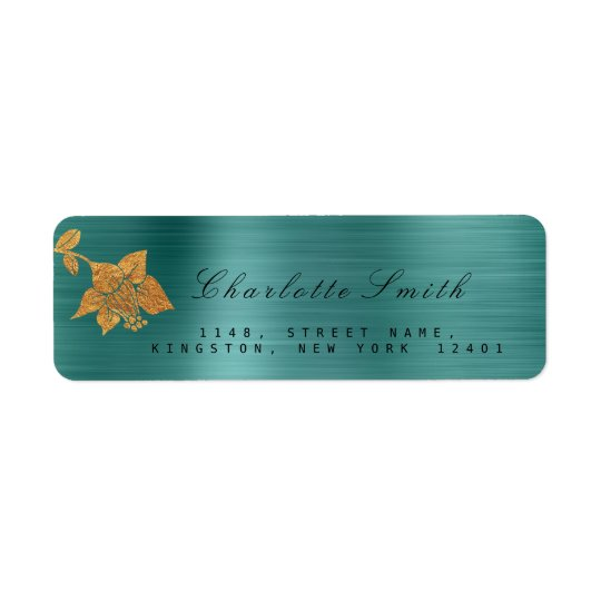 Floral Gold Foil Metallic Teal Tropical RSVP Return