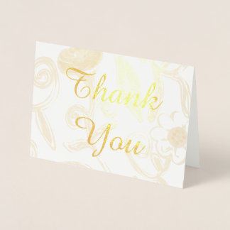 Floral Gold Foil Thank You Card