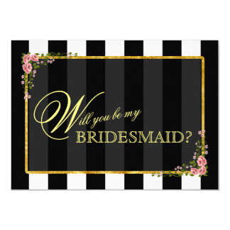 Floral Gold Foil WILL YOU BE MY BRIDESMAID? 11 Cm X 16 Cm Invitation Card