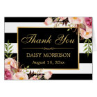 Floral Gold Frame Black White Stripes Thank You Card