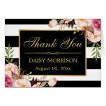 Floral Gold Frame Black White Stripes Thank You Note Card