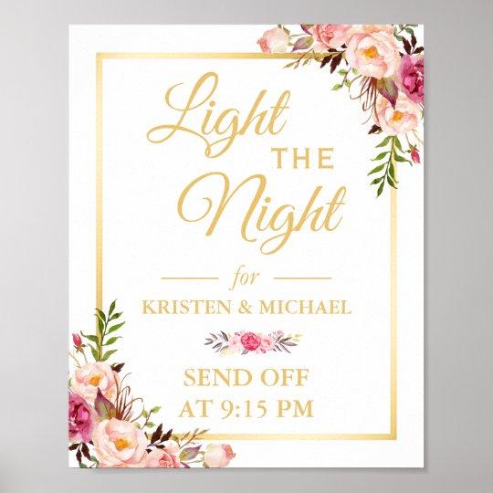 Floral Gold Frame Light the Night Wedding Sign