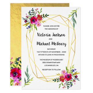 Floral Gold Geometric Crystal Wedding Card