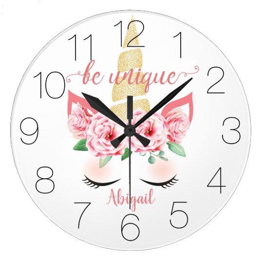 Floral unicorn clock