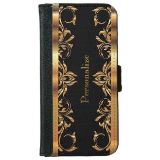 Floral Gold Metallic on Black iPhone 6 Wallet Case