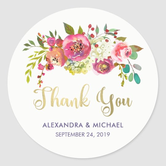Floral Gold | Modern Watercolor Wedding Classic Round Sticker