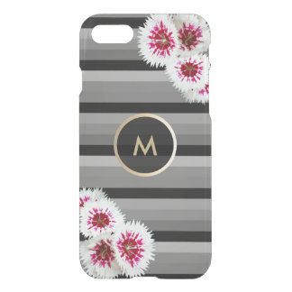 Floral Gold Monogram Black Striped iPhone 7 Case