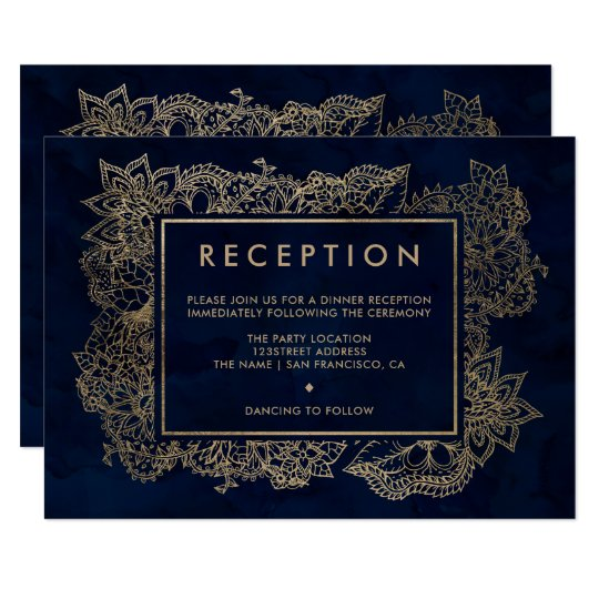 Floral gold navy blue watercolor reception wedding card