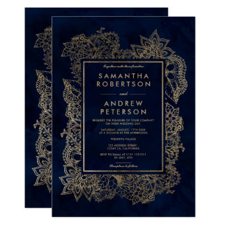 Floral gold navy blue watercolor wedding card