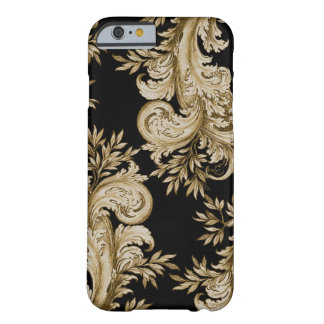 Floral Gold on Black Swirl Engraving Barely There iPhone 6 Case