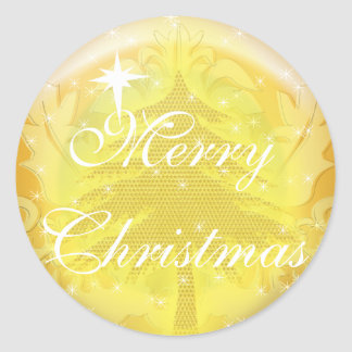 Floral Gold Sticker Gold Christmas Tree with Stars
