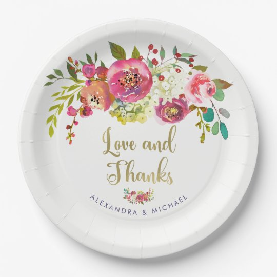 Floral Gold | Watercolor Wedding Love and Thanks 9 Inch Paper Plate