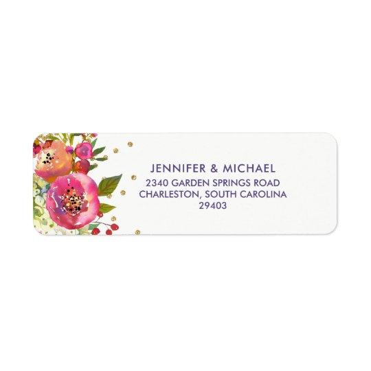 Floral Gold   Watercolor Wedding Return Address Label
