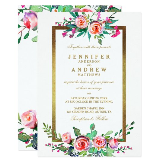 Floral Gold White Chic Formal Wedding Invite