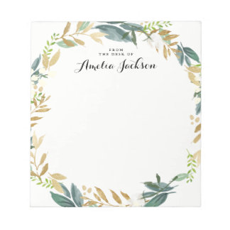 Floral Gold Wreath Personalized Notepad Stationery