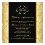Floral golden black 50th Wedding Anniversary Personalised Announcement