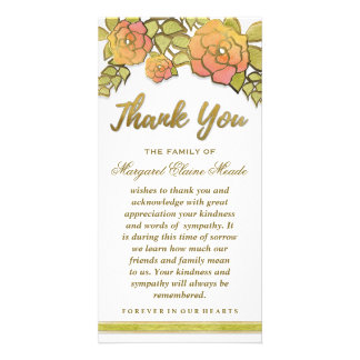 Floral Golden Elegant Thank You Sympathy Card Custom Photo Card