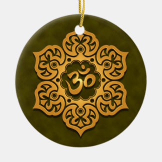 Floral Golden Green Aum Design Christmas Ornament