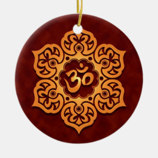 Floral Golden Red Aum Design Christmas Ornament